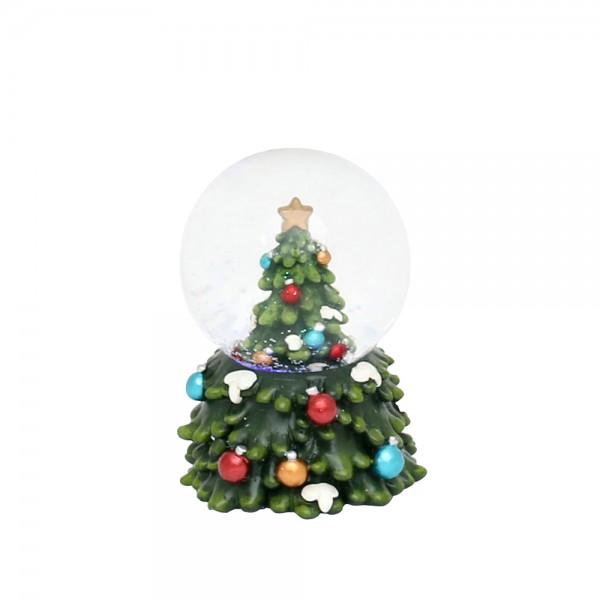 Polyresin Schneekugel kleine grüne Tanne mini 5,5 x 5,5 x 8 cm Ø 5 cm LED