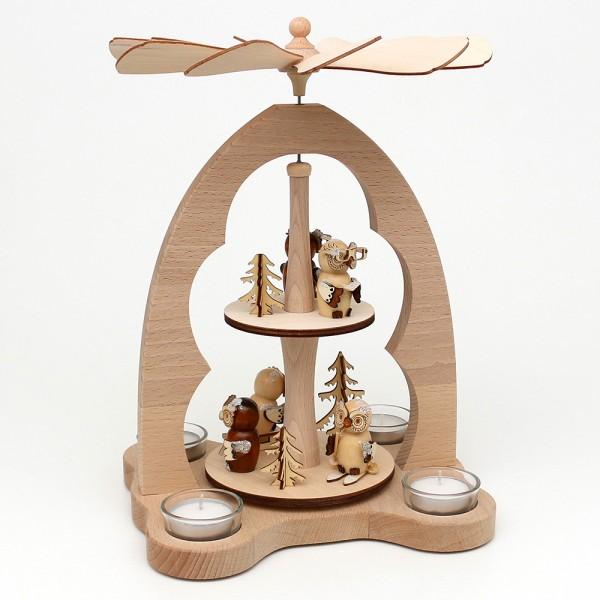 Holz Tischpyramide Eulenwald für 4 Teelichte (Buchenholz) 23 x 20 x 33 cm
