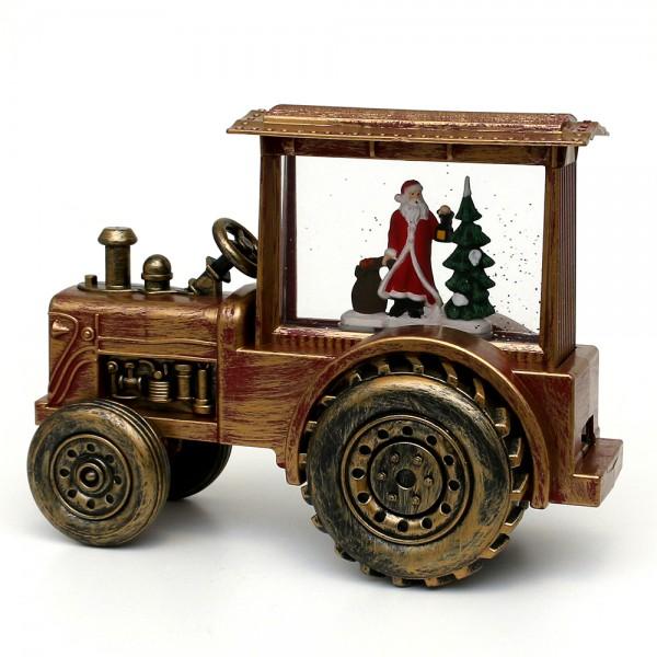 Acryl LED Traktor, mit Weihnachtsmann, rot / gold 30,5 x 13,5 x 22,5 cm Batteriebetrieb AA, Netzanschluss 5 V, LED, Glitterwirbel, Sound