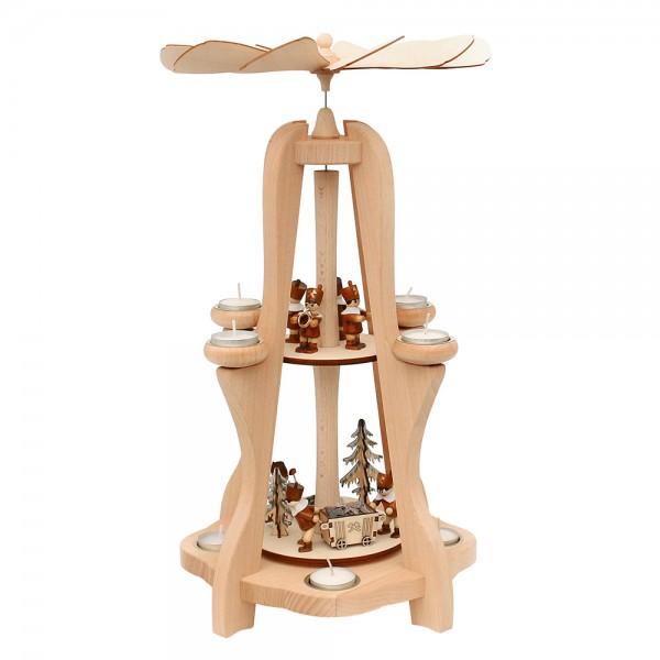Holz Teelicht-Tischpyramide Bergleute für 8 Teelichte (Buchenholz) 28,5 x 28,5 x 50 cm