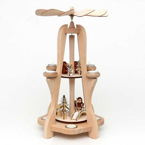 Holz Tischpyramide, hochwertig, Eulenwald für 8 Teelichte (Buchenholz) 28,5 x 28,5 x 50 cm