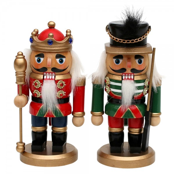 Holz Nussknacker King & Soldier 2-fach sort. 6,5 x 6,5 x 15 cm im Set