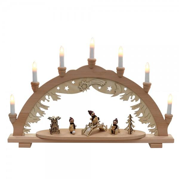 Holz Schwibbogen mit 3 Schneemannfiguren & Brücke & Pyramide (Premiumholz) 9 x 57 x 38 cm 230 V Kabel, 7 flammig, SPK
