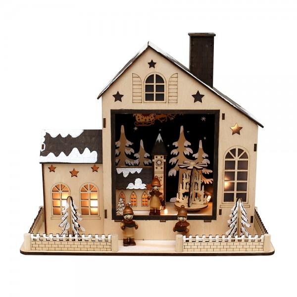Holz LED-Haus Winterdorf mit drehender Pyramide & Kurrendefiguren (Laserholz) 35 x 14 x 30 cm Batteriebetrieb AA, LED, Bewegung, Sound