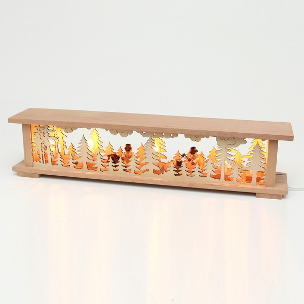 Holz Schwibbogenbank mit Waldarbeiter Figuren (Premiumholz) 57 x 10 x 13 cm 230 V Kabel, 5 flammig