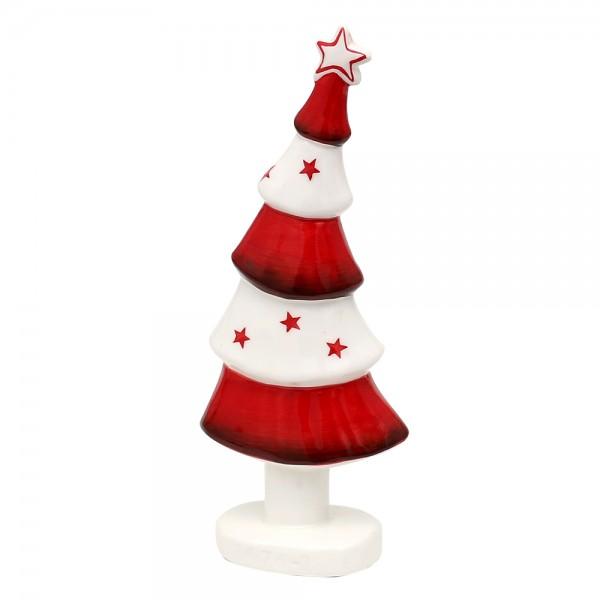 Dolomite Weihnachtsbaum modern weiß/rot glasiert 7,6 x 4,2 x 19,2 cm