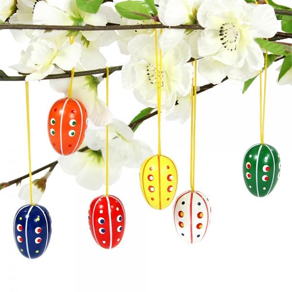6er Set Holz Eier mit Anhänger, bunt bemalt 2,5 x 2,5 x 3,5 cm