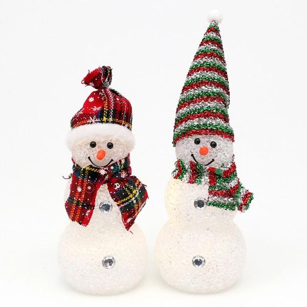 Kunststoff Schneemann mit Schal und Mütze 2-fach sort. 8 x 8 x 20 cm LED im Set