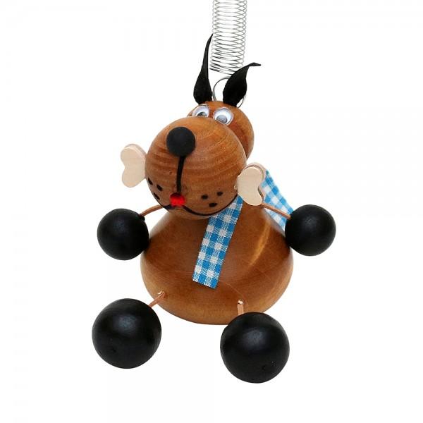 Holz Figur Hund mit Sprungfeder 8 x 6 x 12 cm