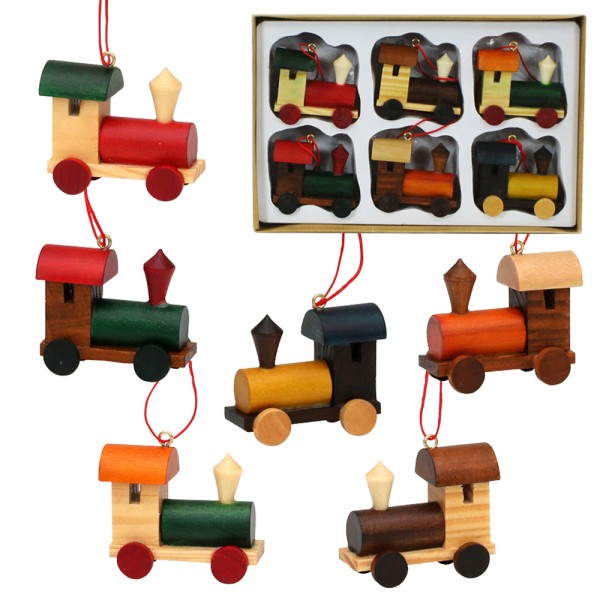 6er Set Holz Lokmit Anhänger, bunt 6-fach sort. 4,5 x 2 x 4,5 cm im Set