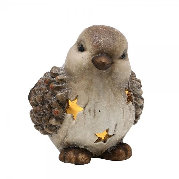 Keramik Vogel beleuchtet mit Glitter 18,5 x 12,5 x 15 cm LED