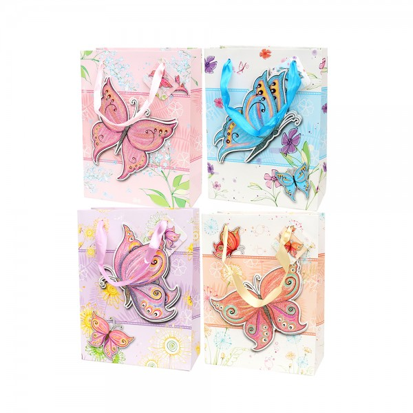 Papier Tragetasche Butterfly klein mit Glitter, pastellfarben 4-fach sort. 18 x 8 x 24 cm 3D im Set