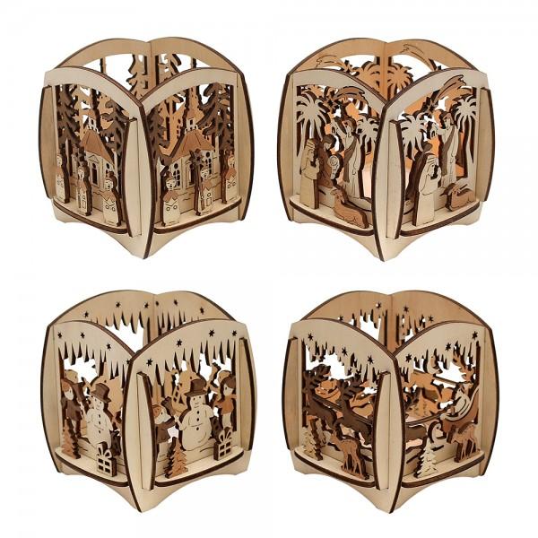 Holz Teelichthalter Würfel (Laserholz) 4-fach sort. 8,5 x 8,5 x 8,5 cm im Set