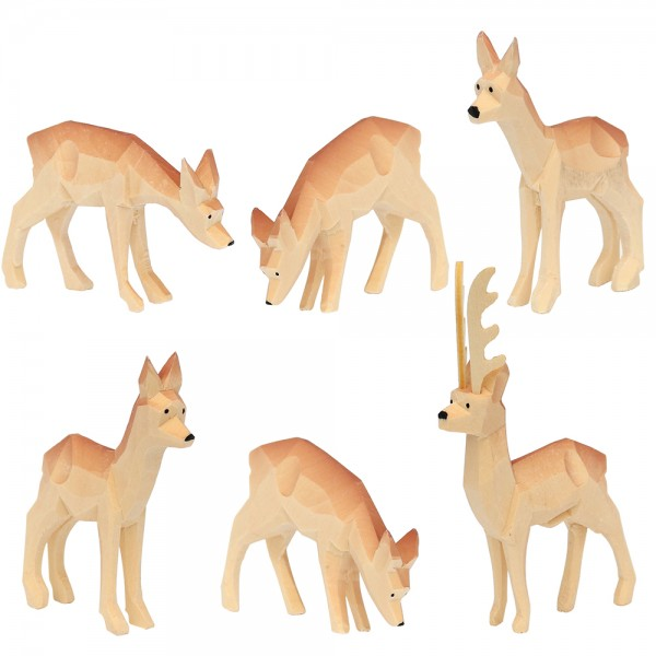 6er Set Holz Rehe geschnitzt mit braunem Rücken 6,5 x 1,5 x 7 cm