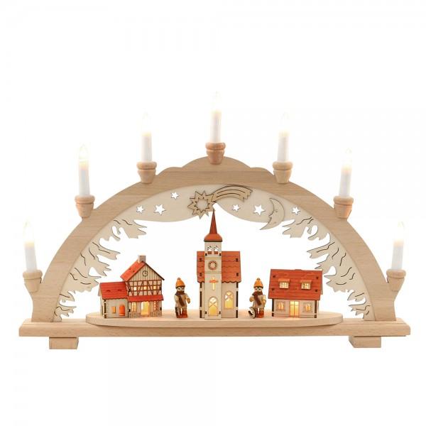 Holz Schwibbogen Premium mit Winterfiguren & Häuser innen beleuchtet 57 x 9 x 38 cm 230 V Kabel, 10 flammig, SPK