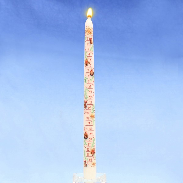 Adventskalender-Spitzkerze mit Abziehbild, weiß 2 x 2 x 29 cm