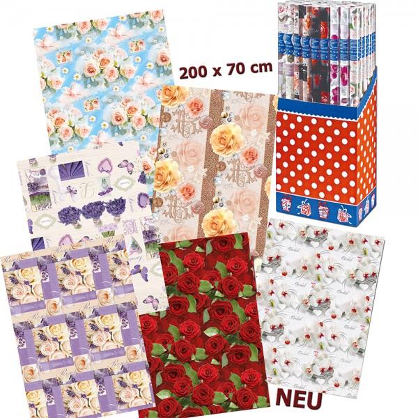 Papier Geschenkpapier Rolle Blumen (50er Display) 70 x 200 cm
