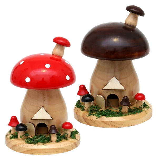 Holz Rächerpilz natur/braun & natur/rot 2-fach sort. 10 x 10 x 15 cm im Set