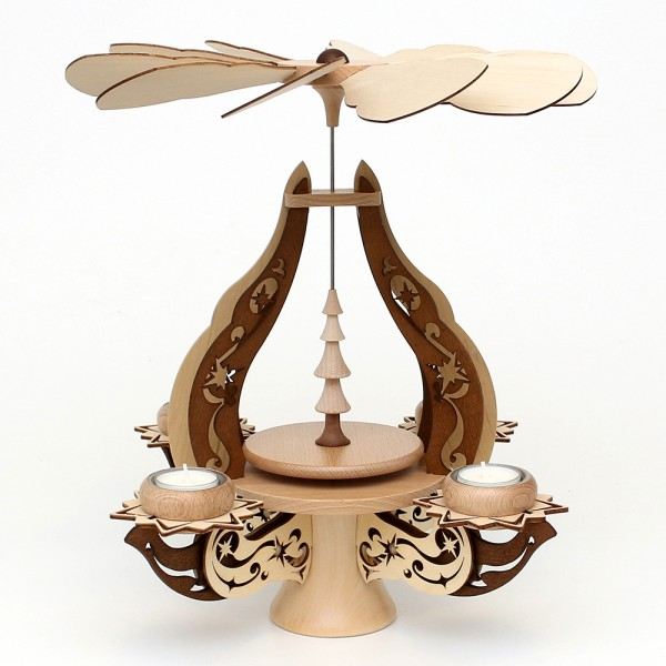 Holz Leuchterpyramide leer zum selberbestücken natur/braun, edel verziert, für 4 Teelichte 28 x 28 x 39 cm