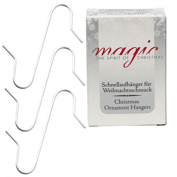 Metall Kugelaufhänger S-Haken (Aufhänger 3,5 cm) 100 Stück, silber 1,5 x 3,5 cm