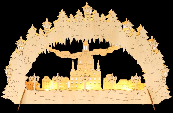 Lichterbogen aus Holz - Motiv Frauenkirche Dresden, für Batterie und Netzbetrieb, LED-Beleuchtung, 43x27cm