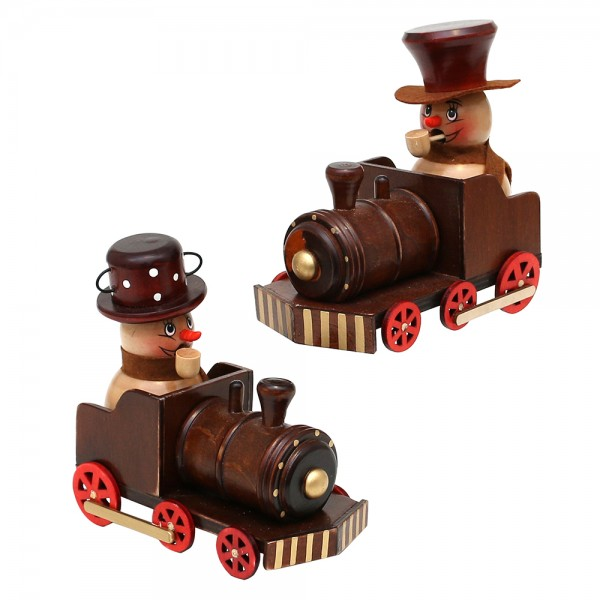 Holz Räucherschneemann Benny & Jenny in Lokomotive 2-fach sort. 12 x 6,5 x 11,5 cm im Set