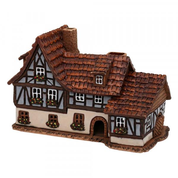 Keramik Licht-Duftölhaus (in Schornstein) Fachwerkhaus 17 x 9 x 10,5 cm