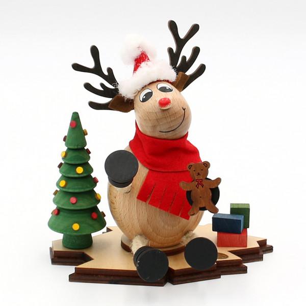 Holz Räucher-Elch Nico der Weihnachtsmann 15 x 12 x 15 cm