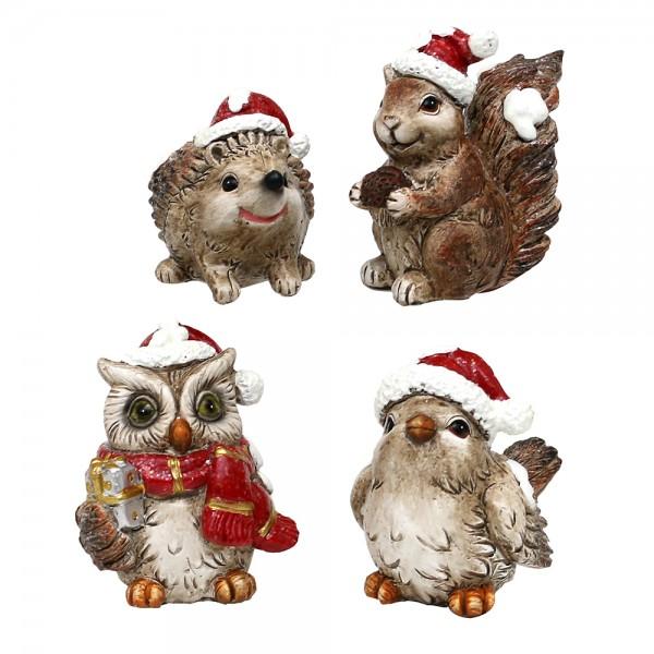 Polyresin Weihnachtstiere Eule, Eichhorn, Vogel & Igel mit Weihnachtsmütze 4-fach sort. 7 x 6,5 x 7,5 cm im Set
