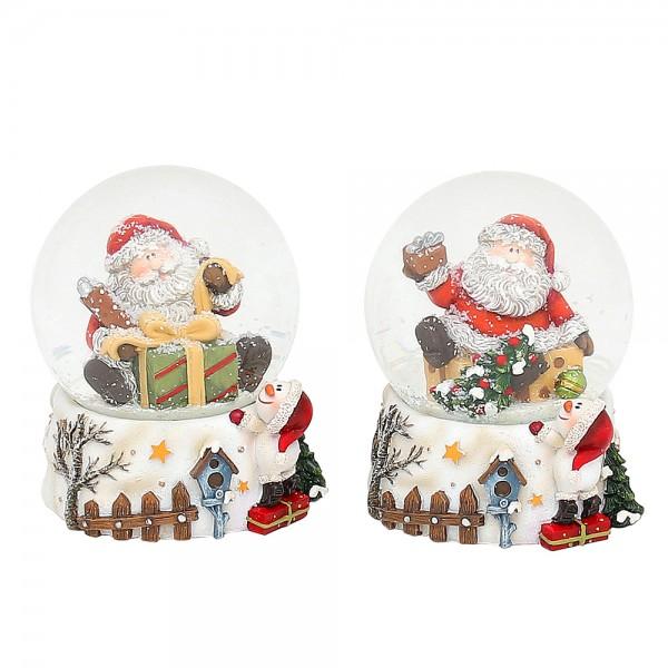 Polyresin Schneekugel Santa auf weißem Sockel mit Schneemann 2-fach sort. 7,5 x 7 x 9,5 cm Ø 6,5 cm im Set