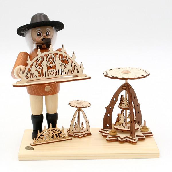 Holz Räuchermann Rolf der Schwibbogen- und Pyramidenverkäufer 19,5 x 10 x 19 cm
