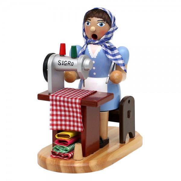 Holz Räucherfrau Schneiderin an Nähmaschine 15 x 10 x 19 cm