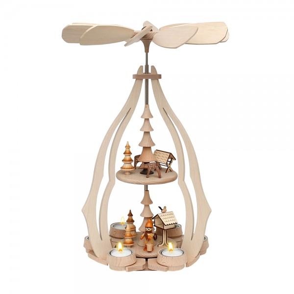 Holz Tischpyramide Vogelfütterung groß für 6 Teelichte 24 x 24 x 45 cm