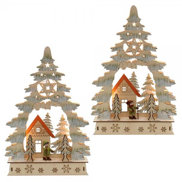 Holz Laserbaum Waldmotiv mit Moosmann oder -frau 2-fach sort. 23 x 5,5 x 34 cm Batteriebetrieb AA, inkl. Adapter 4,5 V, LED im Set