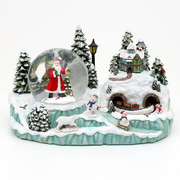 Polyresin Schneekugel Santa und bewegte Eisenbahn 29,5 x 15,5 x 17 cm Ø 10 cm Batteriebetrieb AA, LED, Bewegung, Farbwechsel, Glitterwirbel, Sound