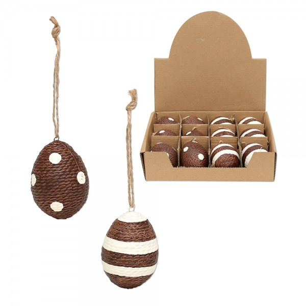 Keramik Eier mit Anhänger, braun/creme 2-fach sort. 4 x 4 x 6 cm im Set