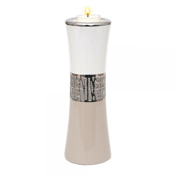 Keramik Leuchter Cappuccino silber/weiß 8 x 8 x 23 cm