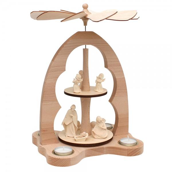 Holz Teelicht-Tischpyramide Heilige Familie Südtirol für 4 Teelichte (Buchenholz) 23 x 20 x 33 cm