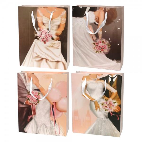 Papier Tragetasche Wedding mit Glitter 4-fach sort. 26 x 10 x 32 cm 3D im Set