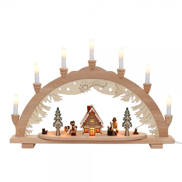 Holz Schwibbogen mit Winterfiguren & Waldhaus innen beleuchtet (Premiumholz) 57 x 9 x 38 cm 230 V Kabel, 10 flammig, SPK
