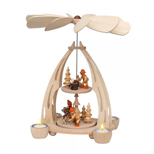 Holz Erzgebirgs-Tischpyramide Holzmacher mittel für 4 Teelichte 20 x 24 x 35 cm