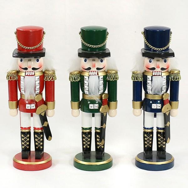 Holz Nussknacker-Sortierung Soldat, rot/blau/grün metallic 3-fach sort. 8 x 7 x 25 cm im Set
