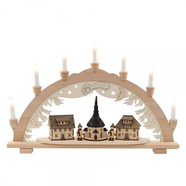 Holz Schwibbogen Seiffener Kirche mit Winterfiguren (Premiumholz) 57 x 9 x 38 cm 230 V Kabel, 7 flammig, SPK