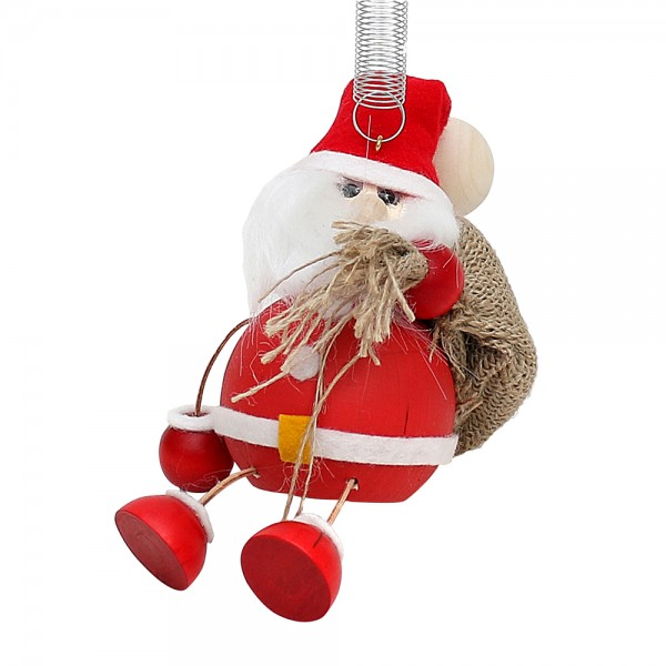 Holz Figur Weihnachtsmann mit Jutesack & Sprungfeder 8 x 9 x 14 cm
