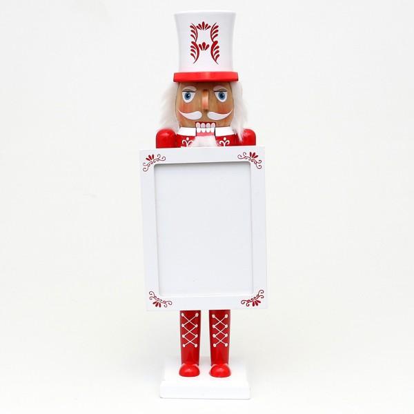 Holz Nussknacker mit Bilderrahmen für Fotos oder Angebote, rot/weiß 12 x 8 x 38 cm
