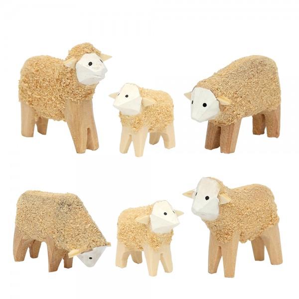 6er Set Holz Schafe geschnitzt beflockt 4,5 x 1,5 x 3,5 cm