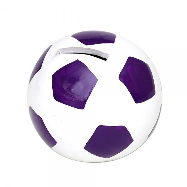 Keramik Spar-Fußball, lila/weiß 10 x 10 x 10 cm