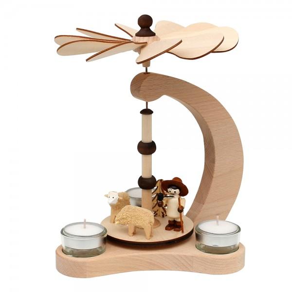 Holz Tischpyramide Schäfer für 3 Teelichte (Buchenholz) 14 x 18 x 24 cm