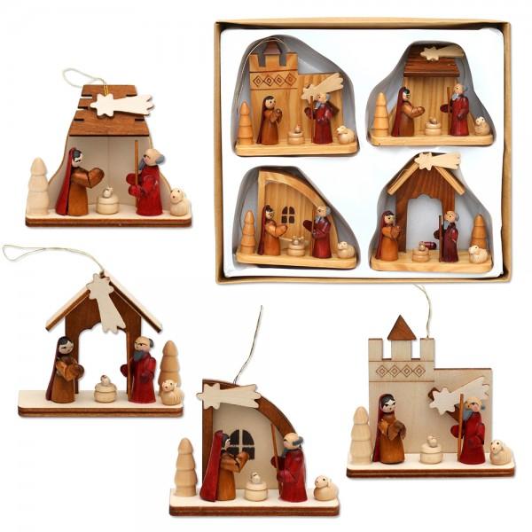 4er Set Holz Krippenmit Anhänger, natur 8 x 2,5 x 8 cm