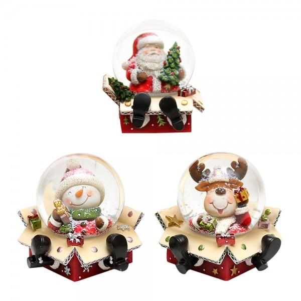 Polyresin Schneekugel Weihnachtsmann, Schneemann, Rentier 3-fach sort. 9 x 9 x 8,5 cm Ø 6,5 cm im Set